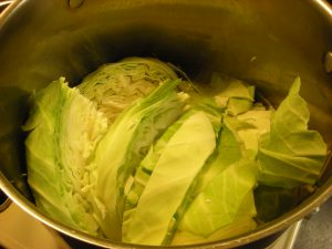 2-cabbage in boiling  salted water